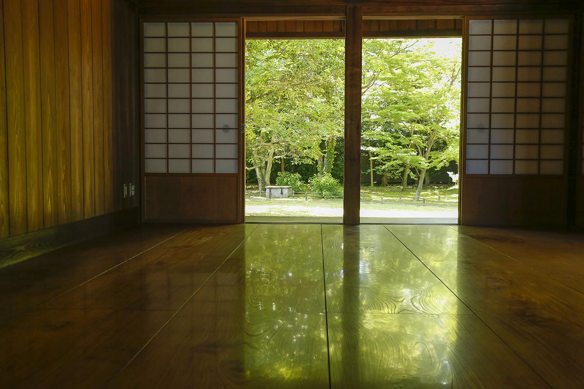 床板に鮮やかな緑が映る「床みどり」 閑院宮邸跡は月曜・年末年始を除き通年一般開放されています。