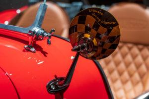 Kiwakoto CRAFT-CARサービスで装飾したケータハムセブンのサイドミラー チェッカーフラッグ柄